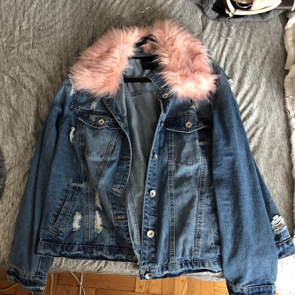 91222026045db Forever 21 Jackets   Blazers - Plus size forever 21 pink faux fur jean  jacket
